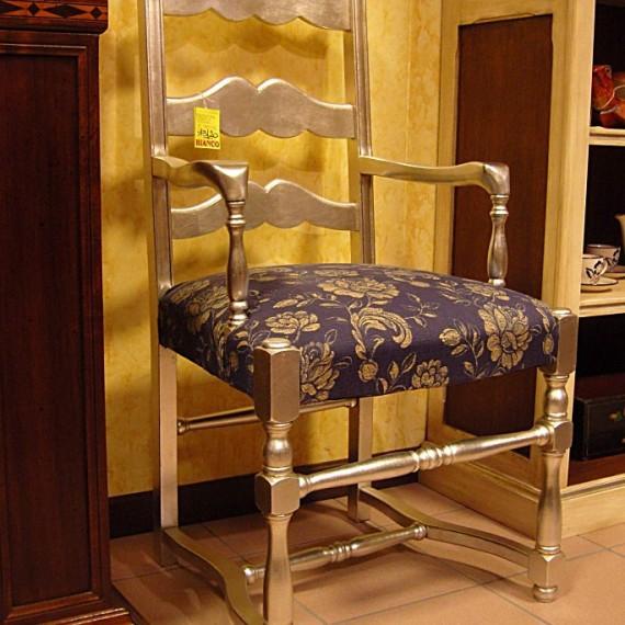 Sedia in legno, finitura foglia argento stoffa fantasia blu.Arredamenti Bianco Savigliano